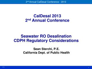 Seawater RO Desalination CDPH Regulatory Considerations