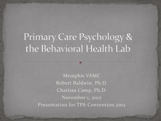 Primary Care Psychology & the Behavioral  Health  Lab