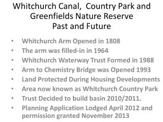 Whitchurch Canal,  Country Park and Greenfields Nature Reserve Past and Future