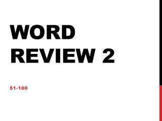 Word Review 2