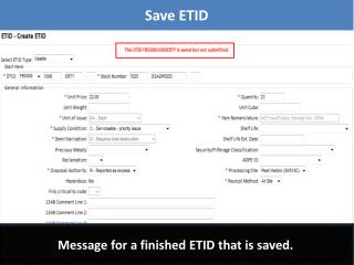 Message for a finished ETID that is saved.