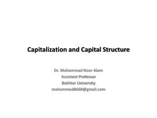 Capitalization and Capital Structure