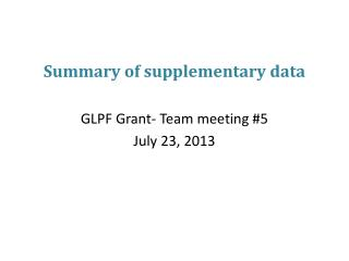 Summary of supplementary data