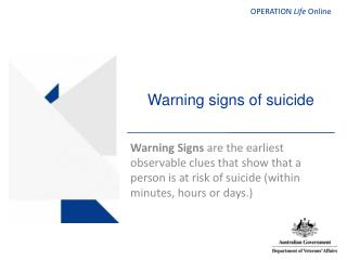 Warning signs of suicide