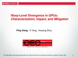 Warp-Level Divergence in GPUs:  Characterization ,  Impact , and  Mitigation