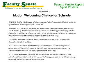 Motion Welcoming Chancellor Schrader