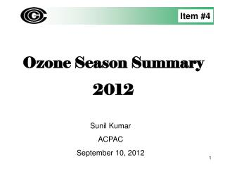 Ozone Season Summary 2012