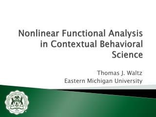 Nonlinear Functional Analysis in Contextual Behavioral Science