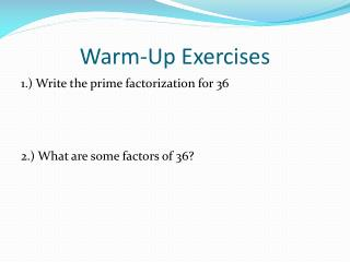 Warm-Up Exercises