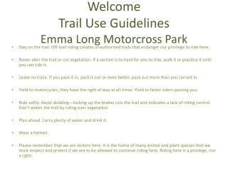 Welcome Trail Use Guidelines Emma Long  Motorcross  Park