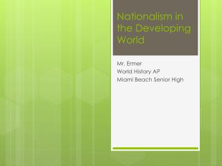 Nationalism in the Developing World