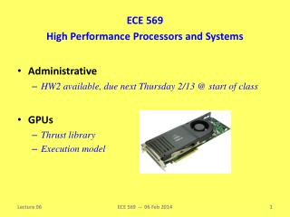 ECE 569 High Performance Processors and Systems