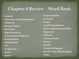 Chapter 8 Review – Word Bank
