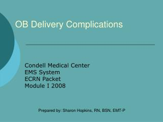 OB Delivery Complications