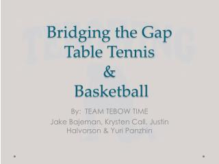 Bridging the Gap Table Tennis  &  Basketball