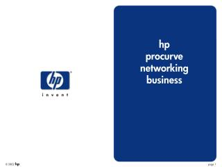 hp procurve networking business