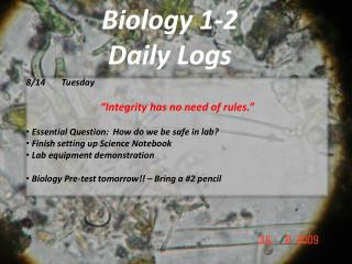 Biology 1-2 Daily Logs
