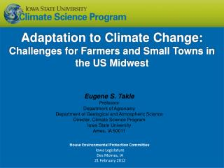 Adaptation to Climate Change : Challenges for Farmers and Small Towns in the US Midwest