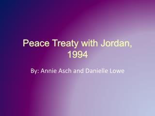 Peace Treaty with Jordan, 1994