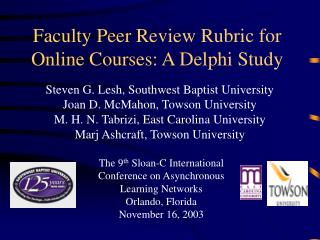 Faculty Peer Review Rubric for Online Courses: A Delphi Study