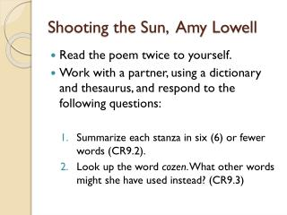Shooting the Sun,  Amy Lowell