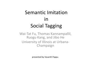 Semantic Imitation  in  Social Tagging