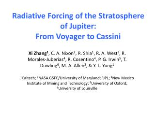 Radiative  Forcing of the Stratosphere of  Jupiter: From Voyager to Cassini