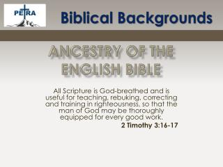 Ancestry Of the  ENGLISH bible