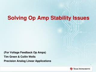 Solving Op Amp Stability Issues