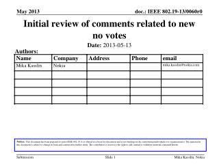 Initial review of comments related to new no votes