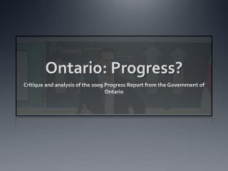 Ontario: Progress?