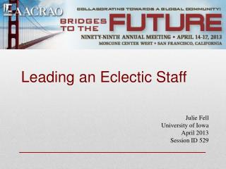 Leading an Eclectic Staff
