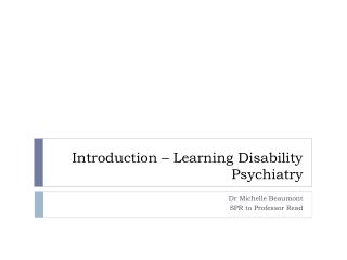 Introduction – Learning Disability Psychiatry