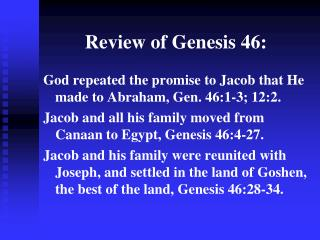 Review of Genesis 46: