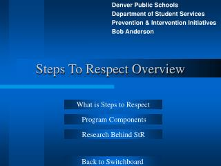Steps To Respect Overview