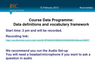Course Data Programme: Data definitions  and vocabulary framework