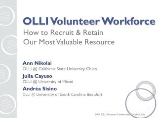 OLLI Volunteer Workforce