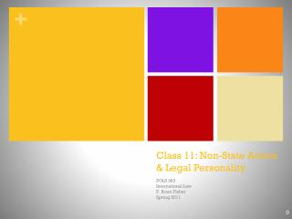 Class  11: Non-State Actors & Legal  Personality