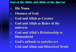 God of the Bible and Allah of the Qur an