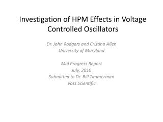 Investigation of HPM Effects in Voltage  Controlled  Oscillators