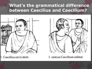 What's the grammatical difference between  Caecilius  and  Caecilium ?