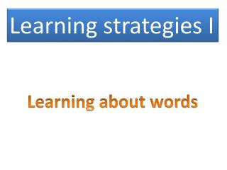 Learning strategies I