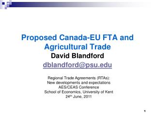 Proposed Canada-EU FTA and Agricultural Trade