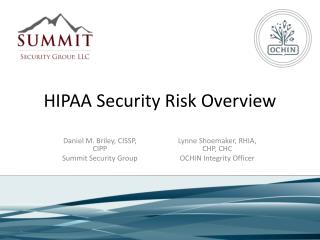 HIPAA Security Risk Overview