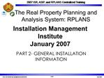 Installation Management Institute January 2007