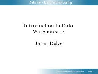 Introduction to Data Warehousing Janet Delve