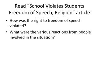 "Read ""School Violates Students Freedom of Speech, Religion"" article"