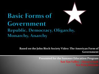 Basic Forms of Government Republic, Democracy, Oligarchy, Monarchy, Anarchy