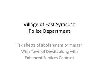 Village of East Syracuse Police Department