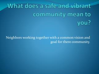 What does a safe and vibrant community mean to  you?